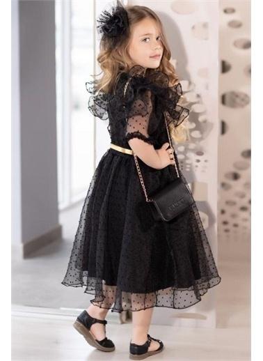 Riccotarz Kız Çocuk Black Style Kolları Kabarık Abiye Siyah